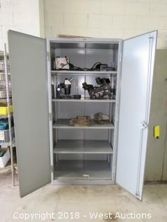 "78"" Tall Solid Steel Cabinet With Machinists Vises and Lab Equipment"