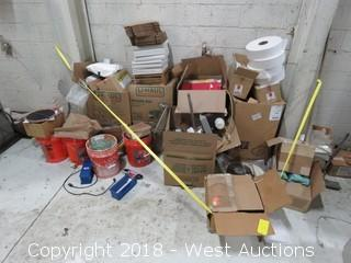 Bulk Lot: (9) Boxes with Office Supplies, Hardware and Hand Tools
