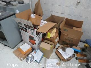 Bulk Lot: (4) Boxes of Electrical Parts, Office and Cleaning Supplies