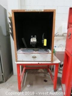Surface Inspection Station: Bausch And Lamb Microscope, Steel Stand And Desk Light