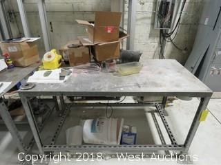 Aluminum Top Work Table with Contents