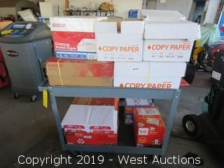 Shop Cart with (11) Boxes of Office Paper