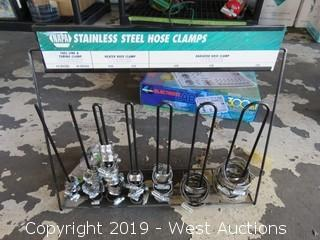 Stainless Steel Hose Clamps with Metal Organizer Rack