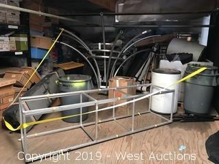 Bulk lot; Stainless steel racks, steps, trash bins