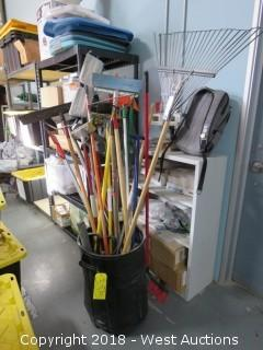 Trash Bin of (27+) Rakes, Mops, Shovels