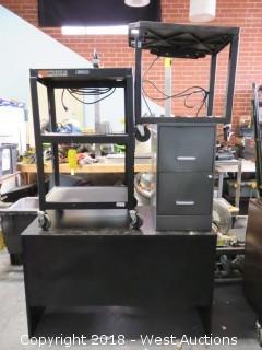 "Bulk Lot: 29"" x 48"" Desk, 38"" Projector Cart, 27"" Projector Cart, 27"" File Cabinet"