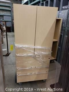 7' Light Wood Cabinet with (2) Doors and (2) Bottom Drawers