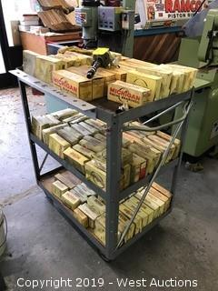 Cart with (50+) Boxes of Michigan Engine Bearings