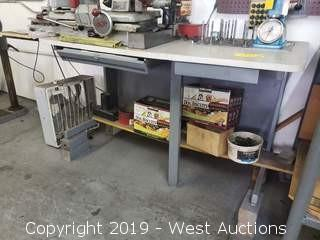 Work Table and Contents; Various Coils/Springs, Machinery Bits and More