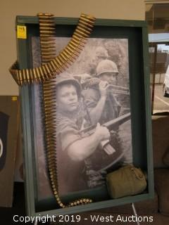 Vietnam 24x34 Steel Photograph With De-milled Ammo And Canteen
