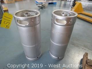 (2) 5-Gallon Anheuser-Busch InBev Kegs