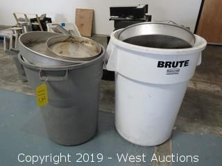 (2) Brute Trash Cans and Baking Pans