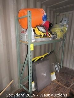Bulk Lot; 6' Shelving Unit With (15)  Carpet Drying Mats, Hoses, Assorted Tools, Bags Of Hose Fittings And More
