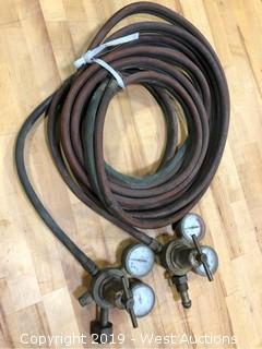 Victor Oxygen/Acetalyne Regulators with Hoses