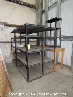 (4) Units Of 4' x 2' x 6'  Product Shelves And (1) 8' Wood Bench