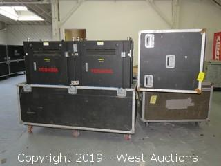 "(4) FOR PARTS Toshiba TRV2013E 13mm 47""x31"" Virtual Outdoor LED Video Displays With Road Case"