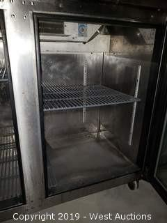 2 Door Stainless Steel Refrigerated Work Station On Wheels