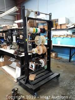 7' Tall Wire Cart With (11) Spools Of Wire