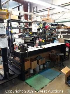 8' Double Sided Work Bench With Tools, Hardware, And More