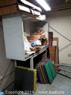 Bulk Lot: Work Cabinet With Signs, Manuals, Chairs, Extension Cords And More