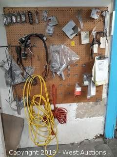 Pegboard, Extension Cords, Hardware