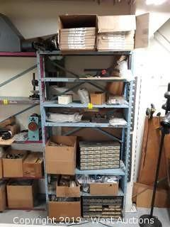 6' Rack Full Of Hardware Organizers, Bench Vises, Tooling And More