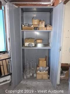 7' Steel Cabinet Full Of Parts, Cords, Connectors