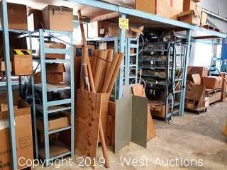 Bulk Lot: (6) Shelving Units And Bays Of Parts, Components, Cardboard Tubes And More