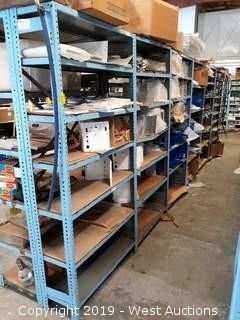 (6) 6' Steel Shelf Racks Full Of Assorted Steel Panels