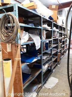 (6) 6' Steel Shelf Racks With Assorted Steel Panels