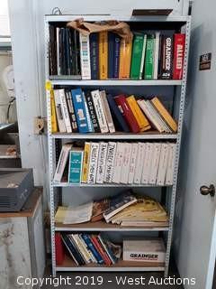 6' Metal Shelf/Rack Full Of Manuals
