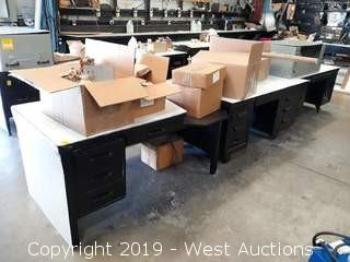 (3) Desks With (7) Boxes Of Steel Panels And (1) Parts Jofre System