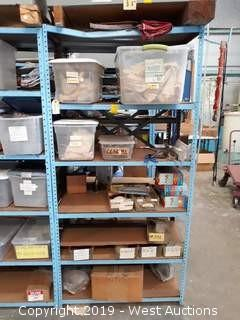 6' Rack With Wire Brushes, Totes, Tooling, Parts