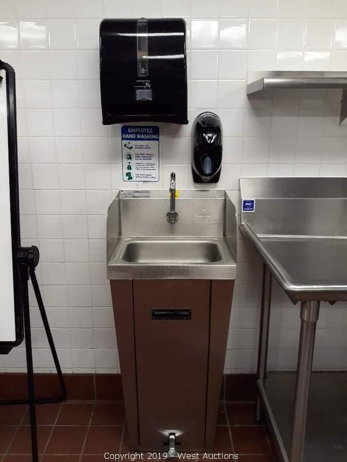 West Auctions Auction Online Auction Of Used Commercial Kitchen Restaurant Equipment For Sale In Sacramento Ca Item Advanced Tabco 7 Ps 90 Foot Actuated Stainless Sink With Soap And Automatic Towel Dispenser