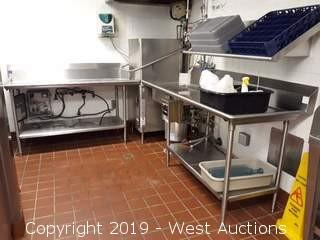 Hobart AM15 Single Rack High Temperature Commercial Dishwasher With Wash Tables And Garbage Disposal