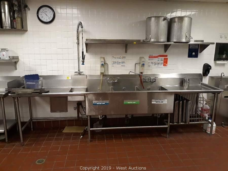 West Auctions Auction Online Auction Of Used Commercial Kitchen Restaurant Equipment For Sale In Sacramento Ca Item 12 Stainless 3 Basin Dish Wash Sink With Faucet And Soap Dispensers