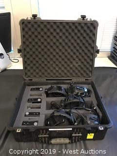 (5) Telex BP-1002 Single-Channel Beltpacks With Headphones And Case