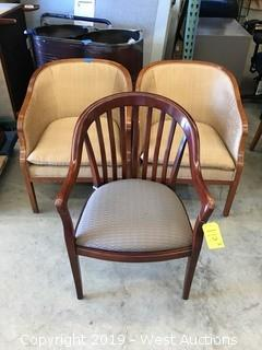 (3) Curved Back Wood Chairs