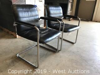 (6) Steel Frame Leather Office Chairs