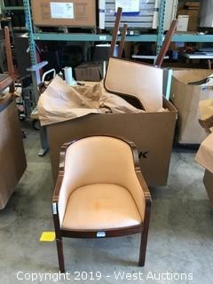 (4) Wood Frame, Upholstered Guest Chairs