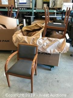 (4) Wood Frame, Cushioned Reception Chairs
