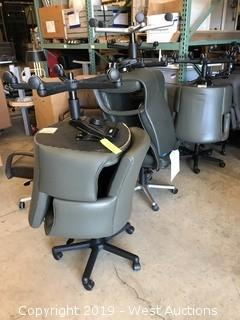 (10) Rolling Gray Leather Office Chairs