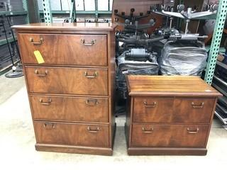 (2) Wooden Office Filing Cabinets