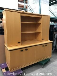 "Light Wood Credenza With Hutch 72""x24""x72"""