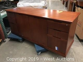 Wood Office Furniture Set - Desk w/ Hutch and Credenza
