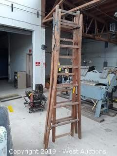 12' Wooden Folding/Extension Ladder
