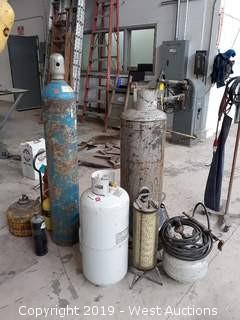 Propane, Oxygen, Air, Acetylene, And Refrigerant Tanks