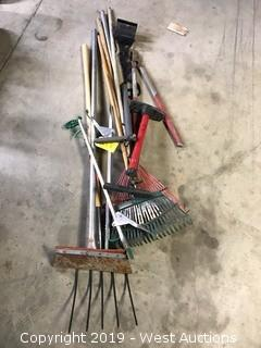 Yard Tools: Pitchfork, Rakes, Trimmers, Grabbers, Air Pump