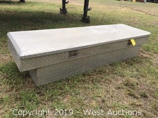 Aluminum Truck Toolbox with Contents of Straps, Gloves, Pulley Tools, Battery Analyzers
