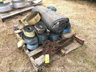 Pallet Of (10) Straps, Tarp, And Chain